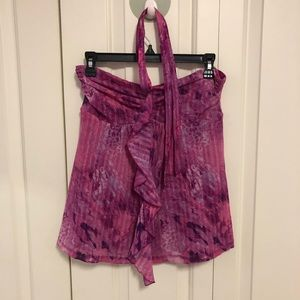 Express Pink and purple leopard halter top